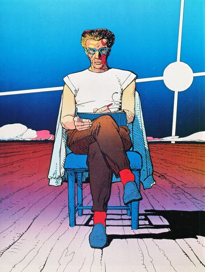 Мебиус. Картины. Мужчина на стуле, рисует в альбоме.