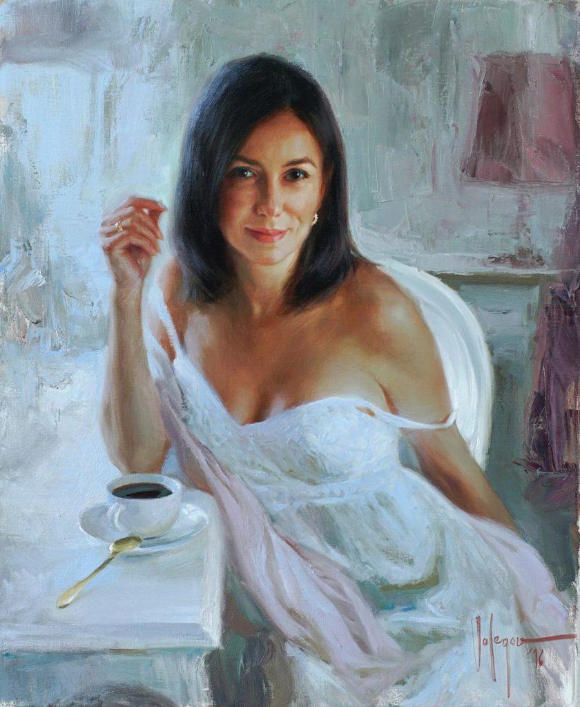 Картины Volegov. Девушка с чашкой кофе.