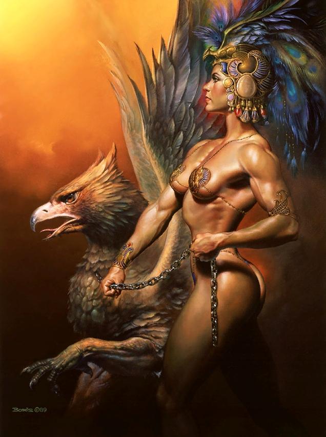 Картины Boris Vallejo. Амазонка с грифоном.