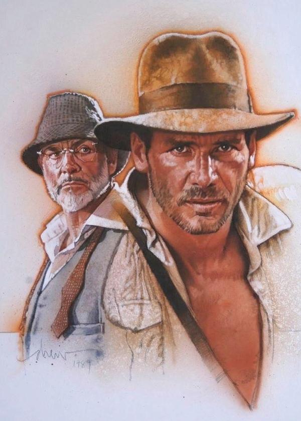 художник-иллюстратор Дрю Струзан. Генри Уолтон Джонс и Харрисон Форд. Постер к фильму Индиана Джонс.