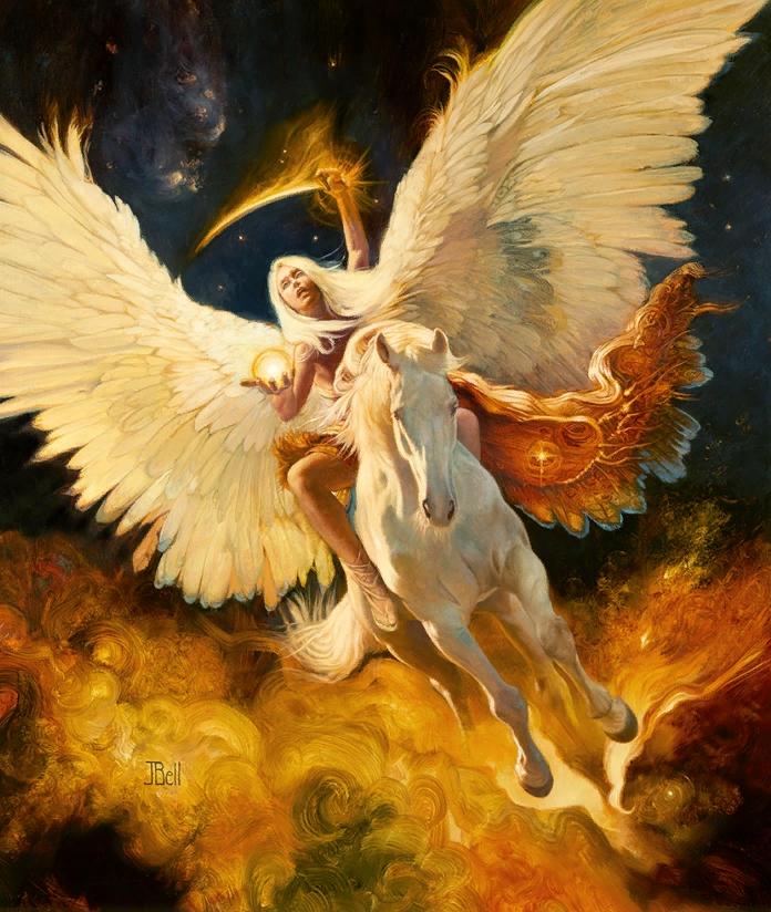 Картины Julie Bell. Богиня с крыльями на лошади.