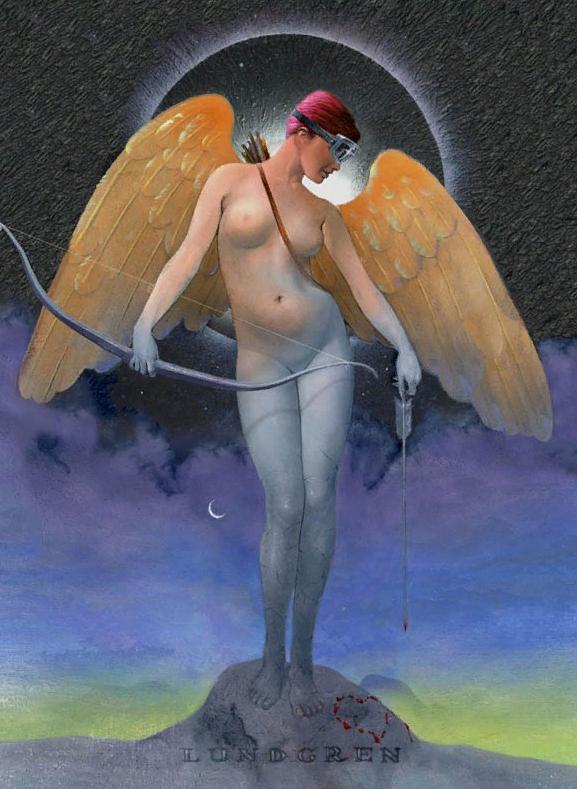 Картины  Lundgren. Ангел с луком и крыльями.