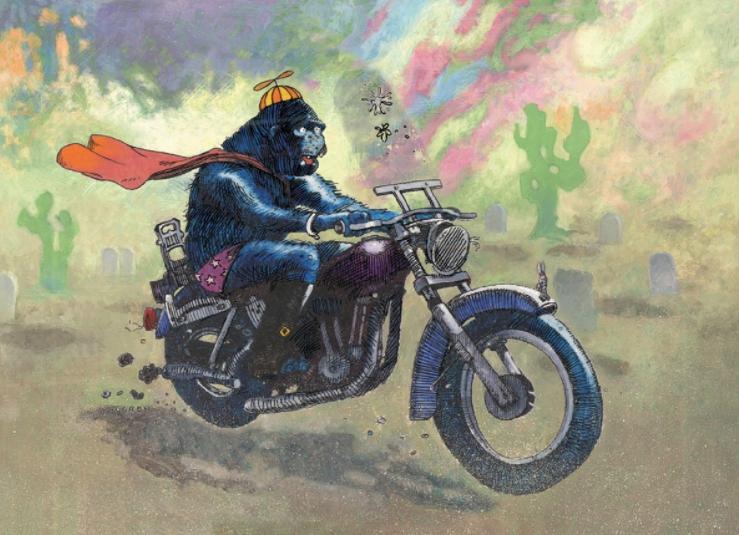 Картины Lundgren. Обезьяна на мотоцикле.