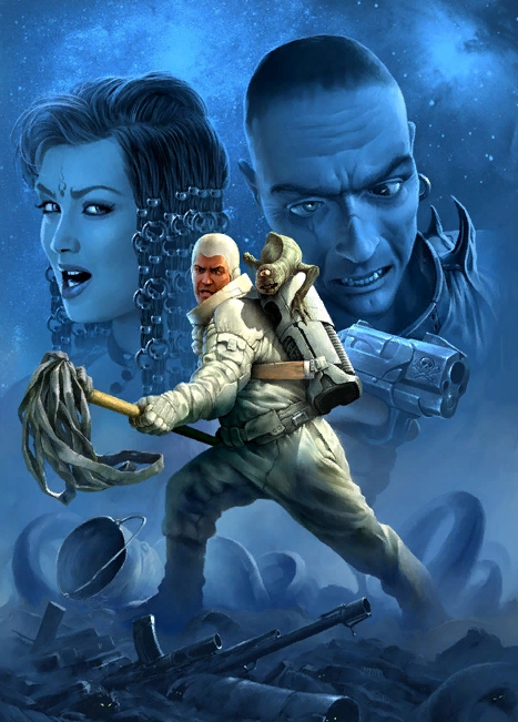 Иллюстратор жанра фэнтези Алексей Шамровский. Астронавт с одноглазой ящерицей.