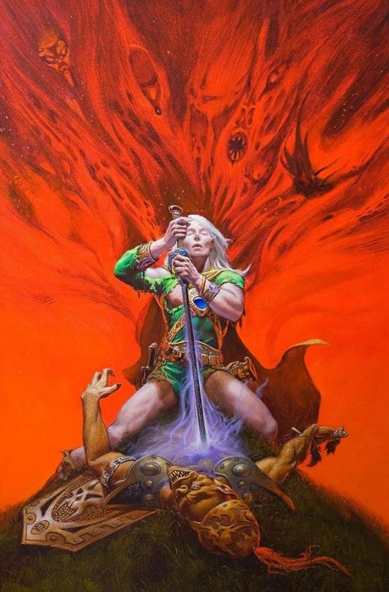 Картины Michael Whelan. Амазонка с мечем.