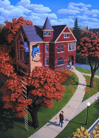 Картины художника Роба Гонсалвеса. Магический реализм в живописи. Осенний дом.