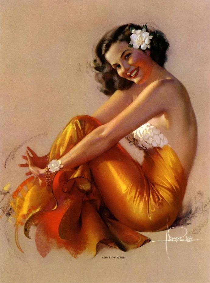 Картины в стиле pin-up Рольфа Армстронга. Красивые девушки.