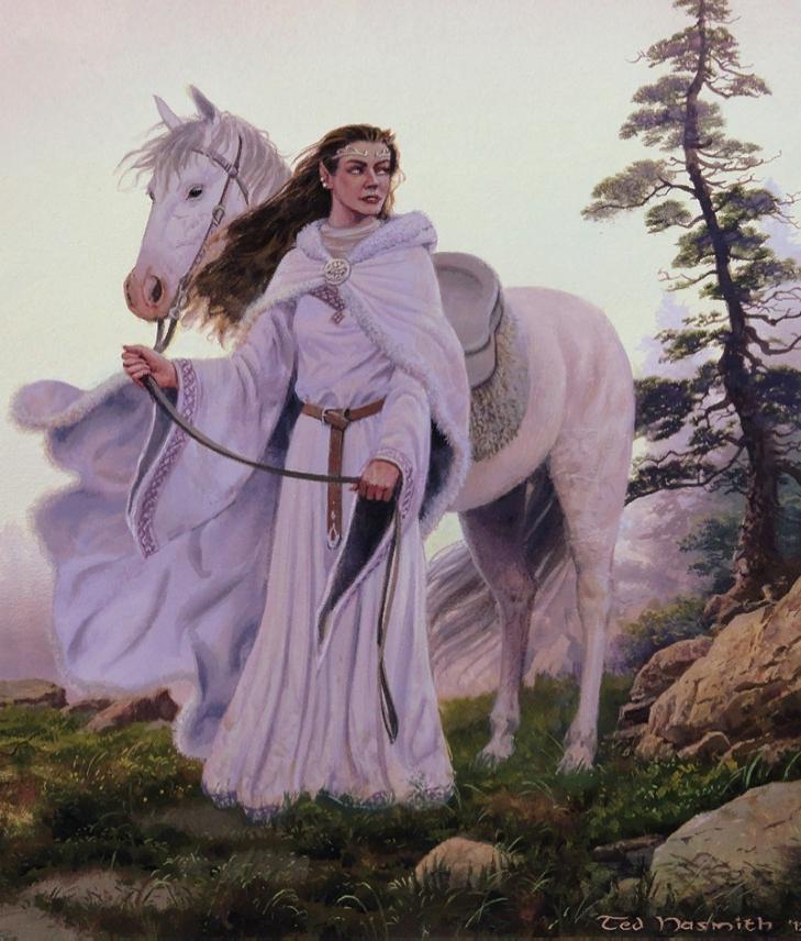 Художник Тед Несмит. Картины. Иллюстрации. Фэнтези. Толкин. Волшебница Аредель с белым конём.