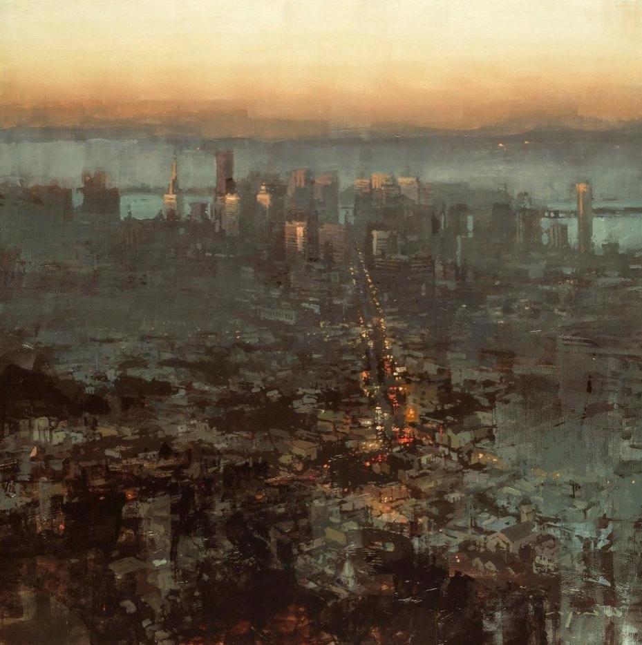 Jeremy Mann, городской пейзаж, импрессионизм.