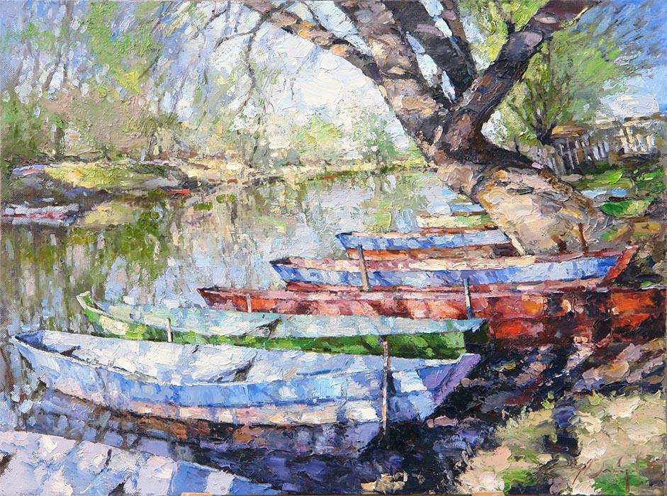 Картины Алексея Зайцева. Импрессионизм. Лодки на реке.