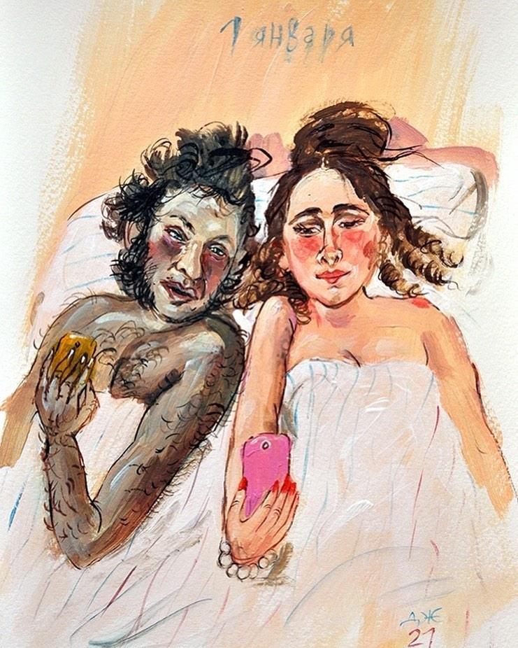Смешные картины художников, Художница Анжела Джерих Пушкин 1 января.