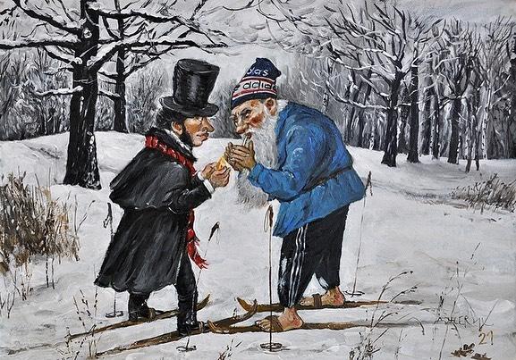 Анжела Джерих, картины. Пушкин и Лев Толстой