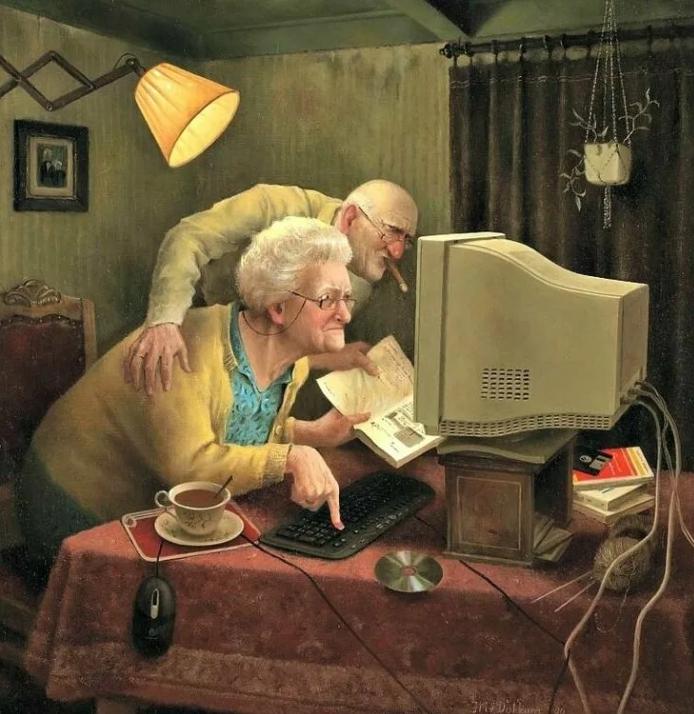 Смешные картины художников. Мариус Ван Доккум, картины. Старики печатают на клавиатуре.