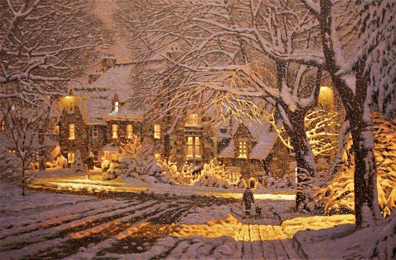 Картины Richard Savoie. Заснеженный дом