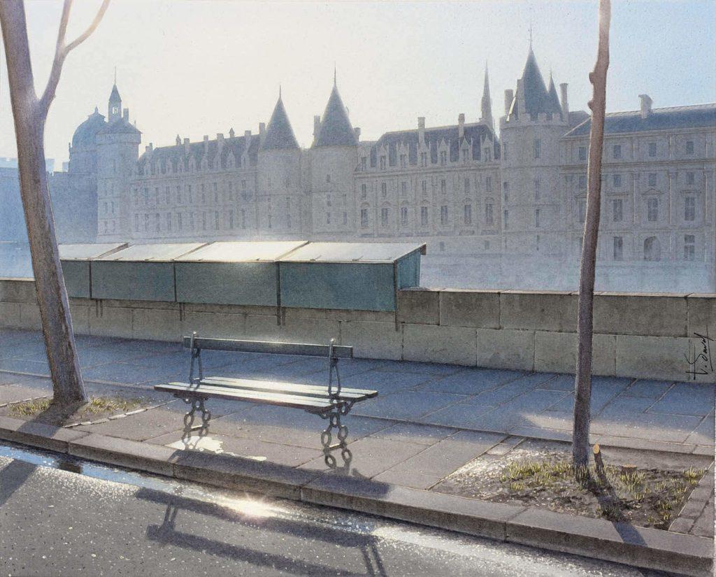 Пейзажи акварелью Thierry Duval. Париж, скамейка.