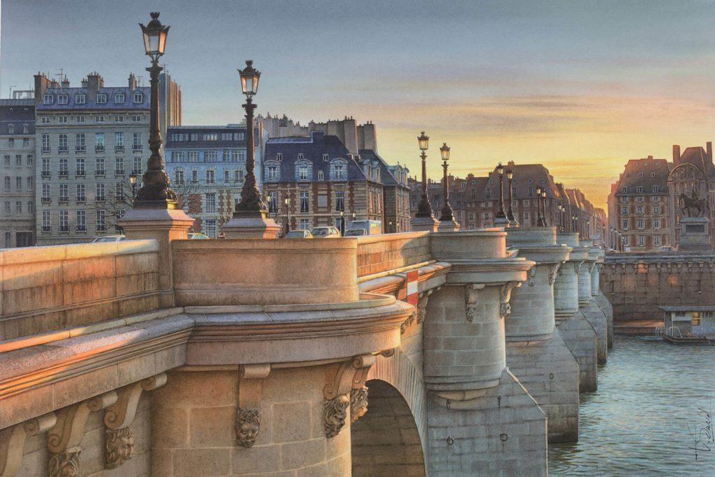 Пейзажи акварелью Thierry Duval. Париж, мост.