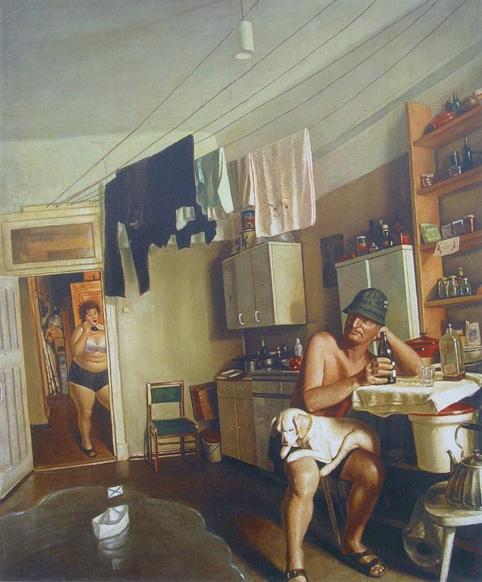 Василий Колотев. Картины. Мужчина на кухне пьет пиво
