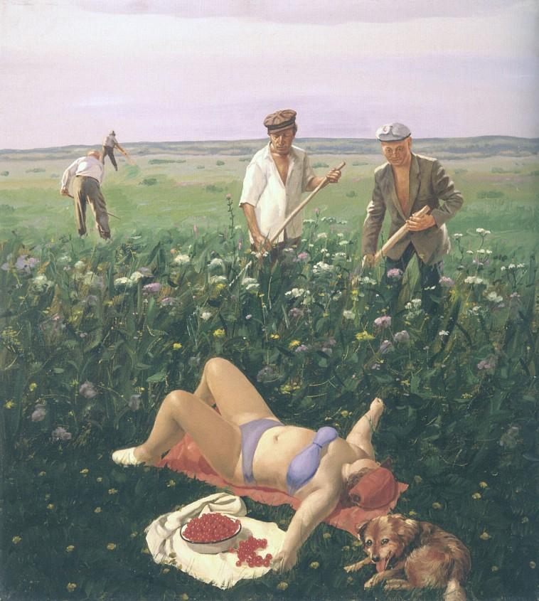 Василий Колотев, картины. Девушка загорает на лугу