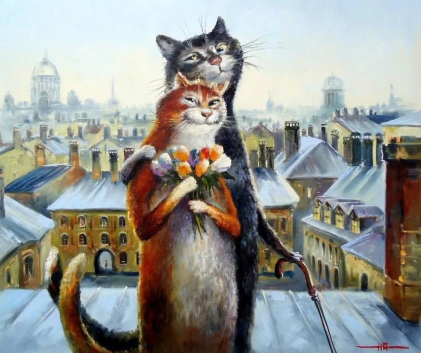 Картины котов Владимира Румянцева.