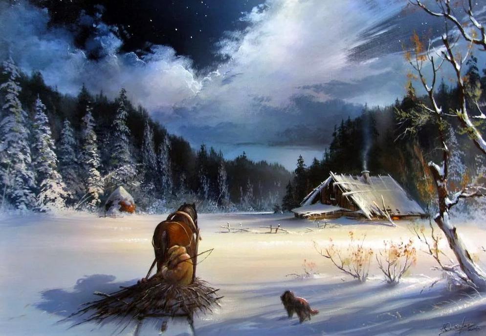 Картины художника Юшкевича Виктора Николаевича. Пейзаж. Зима.