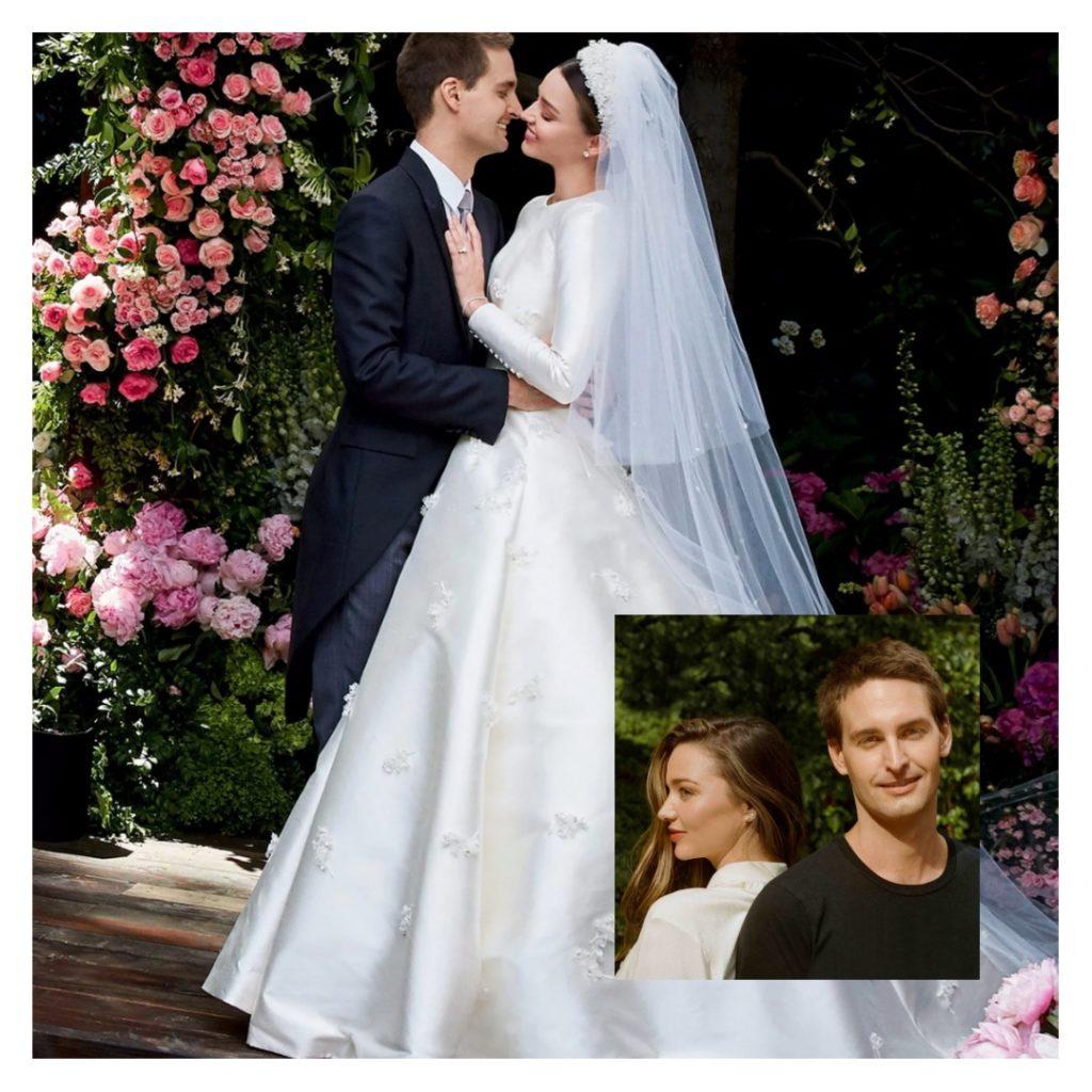 Фотомодель Miranda Kerr и Эан Шпигель. Свадьба. Модель в белом подвенечном, свадебном платье.