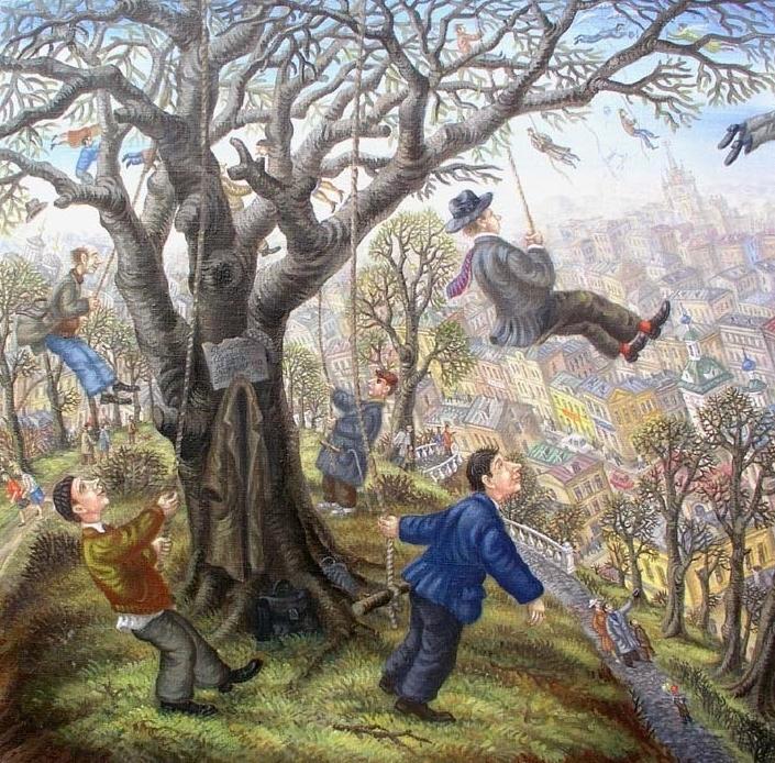 Картины художника Сергея Васильевича Волкова. Необычные смешные человечки.