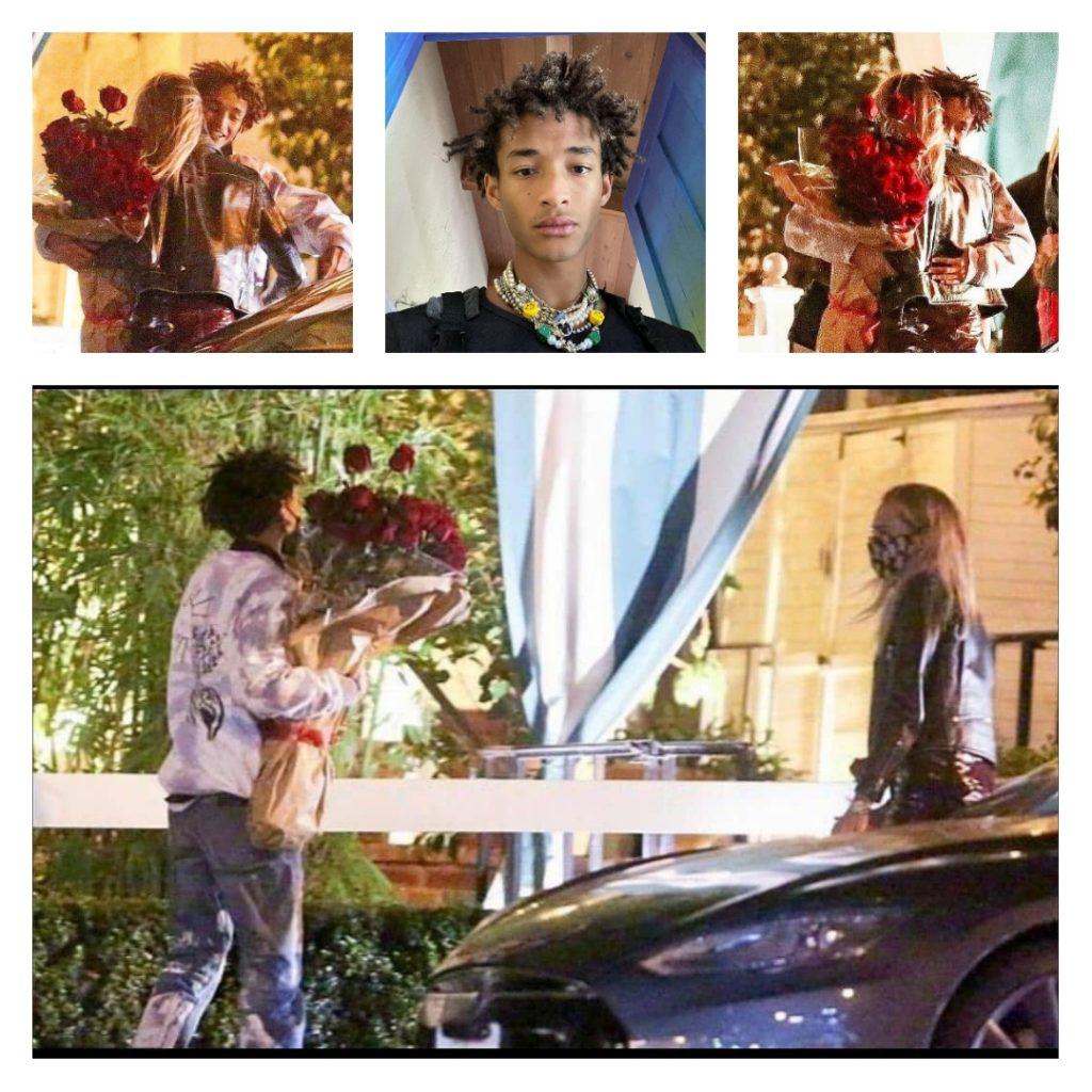 Джейден Смит дарит цветы фотомодели и актрисе Каре Делевинь.
