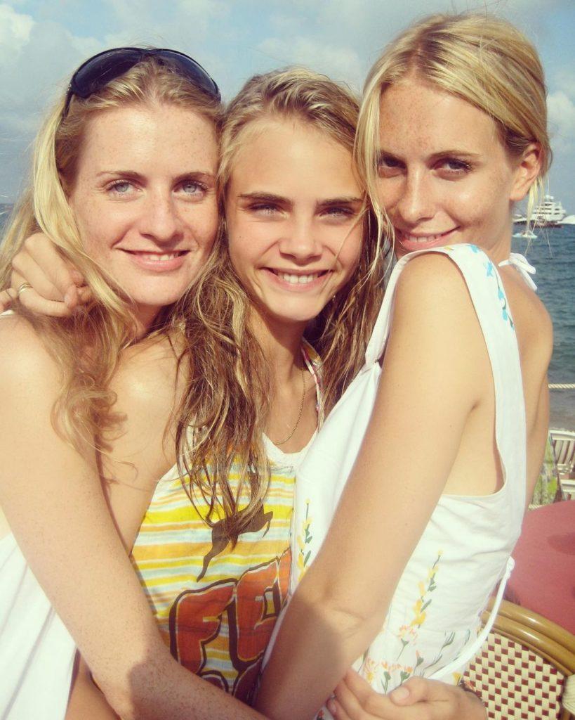 Фотомодель Poppy Delevingne и сестрами Карой и Хлоей.