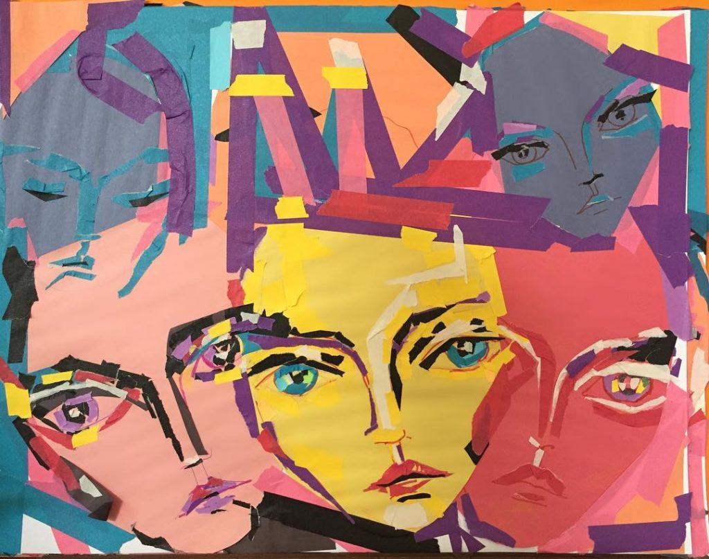 Картина абстракционизма. Лица людей.