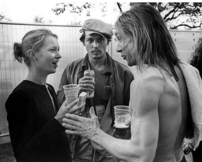 Игги Поп, модель Кейт Мосс и актер Джонни Депп. В 1990-х годах.