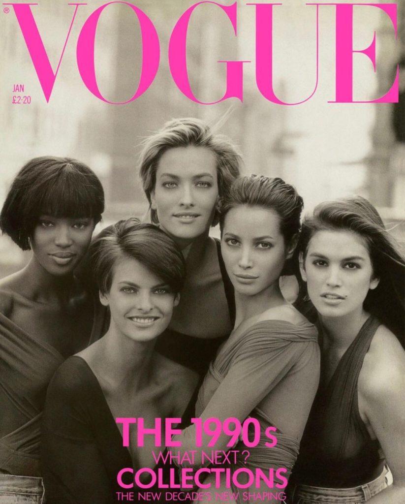 Обложка журнала Вог, 1990 год.