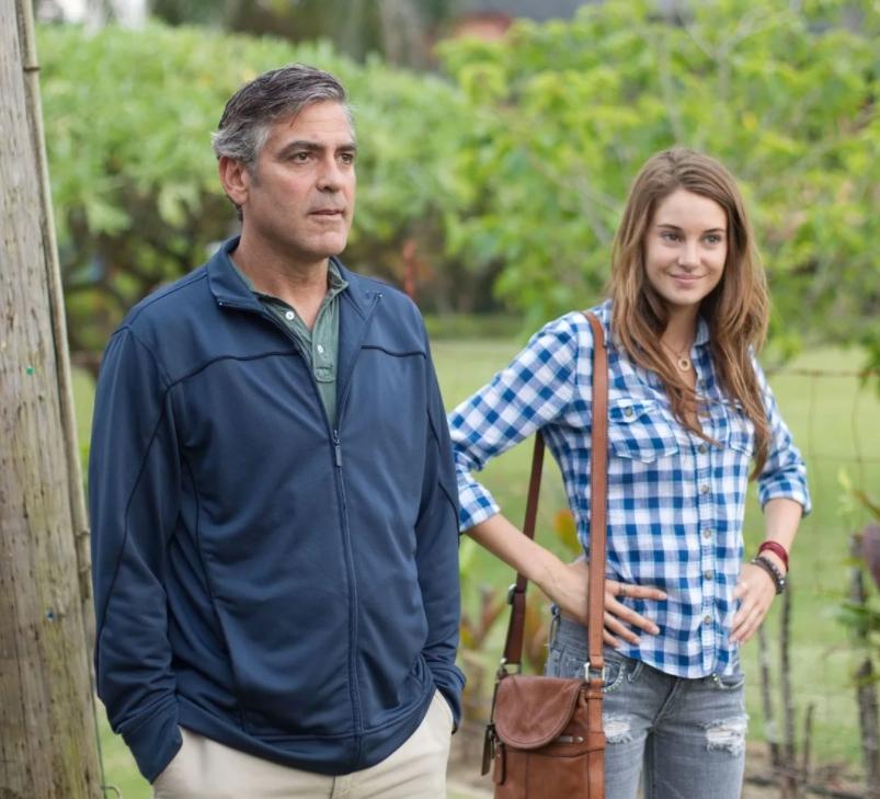 Кадр из фильма Потомки с Клуни и Шейлин Вудли.