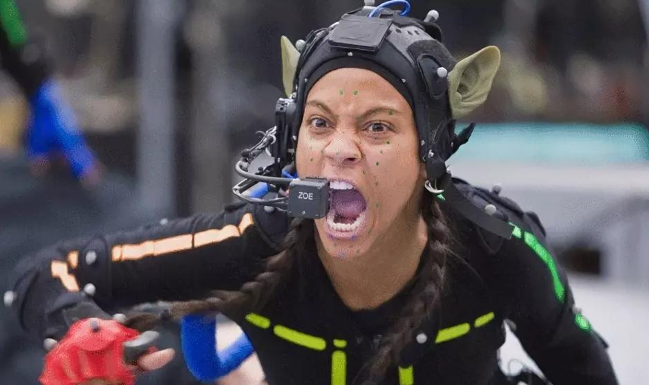 Актриса Зои Салдана на съемках фильма Аватар.
